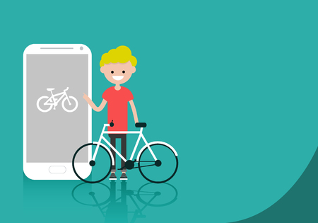 Young character with bike standing near smartphone.Bike sport app.Space for your text.Flat cartoon design Ilustrace