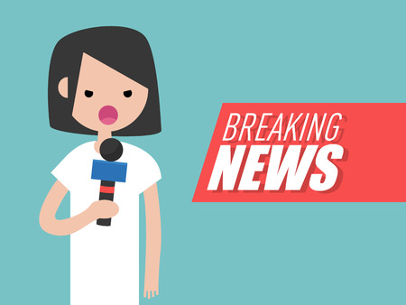Breaking news,Young character reporter holding a microphone.Flat cartoon design