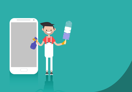 Young character with bike standing near smartphone.Bike sport app.Space for your text.Flat cartoon design Illustration