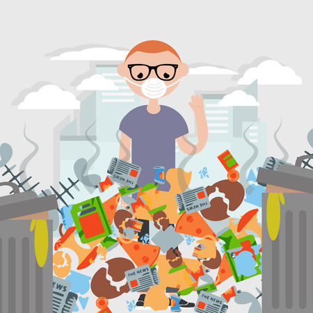 Garbage pollution.The stench.Young character wearing a protective face mask .Flat cartoon design