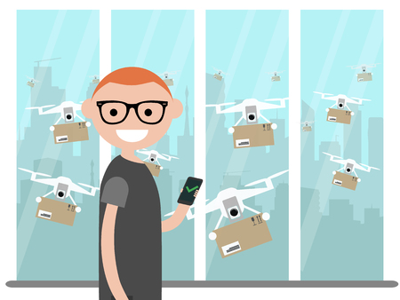 Drone delivery service.Many drones receiving the parcels .Young character near the window.Flat cartoon design Clip art