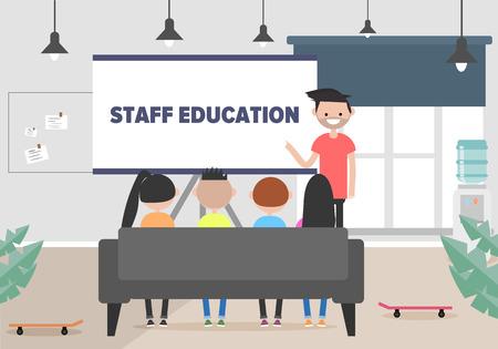 Staff education. Office workshops and seminars.Career. Modern workers. Flat cartoon design.Clip art