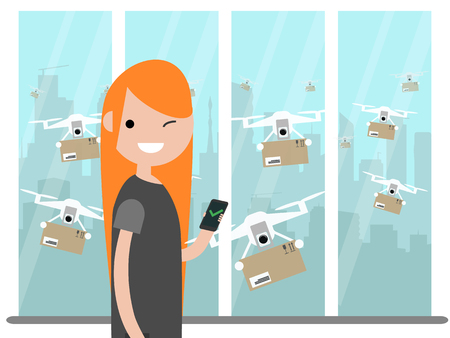 Drone delivery service.Many drones receiving the parcels .Young character near the window.Flat cartoon designClip art