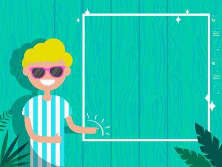 Summer concept.Young character with glasses standing near modern blue fence.Frame for your text.Flat cartoon design
