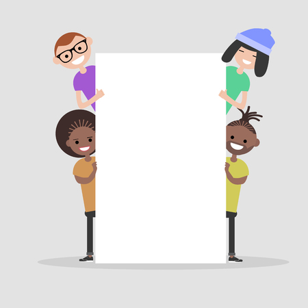 Young characters with white banner,Copy space.Mock up.Flat cartoon design