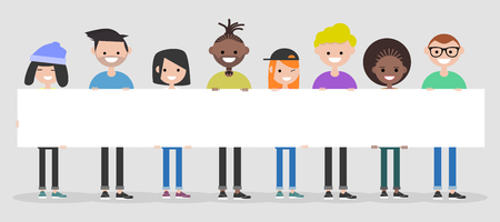 Young characters with white banner,Copy space.Mock up.Flat cartoon design Ilustração Vetorial