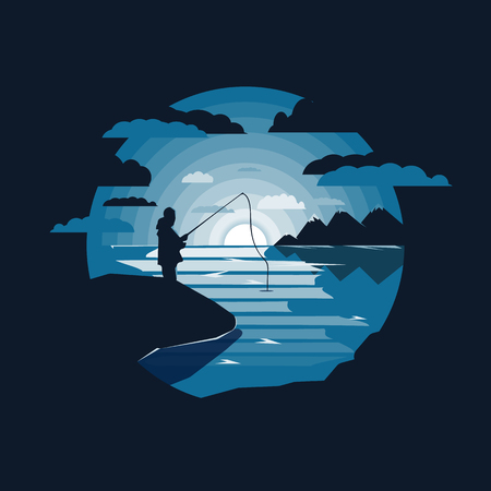 landscape with mountains and lake.Lone fisherman.Flat design