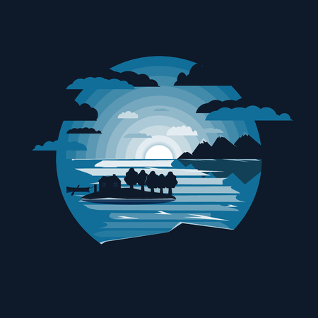 landscape with mountains and lake.Lone island with house.Flat design 矢量图像