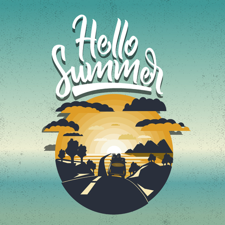 Hello summer banner.landscape with travel car rides on the road.Gradient sea background