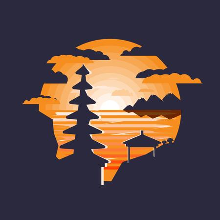 Illustration of pura ulun danu Indonesia Bali