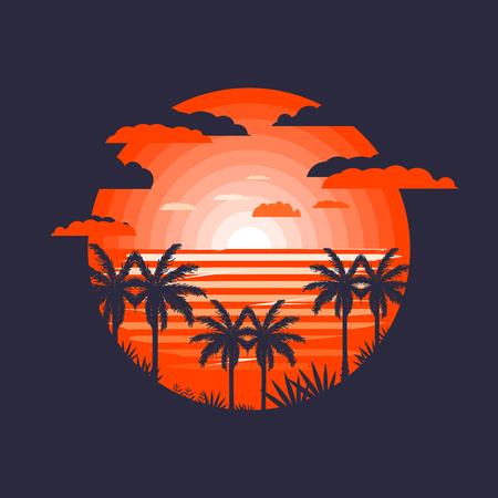 Hot tropical landscape icon.Palms near beach Stock Illustratie