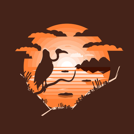 Wild west landscape. vulture sitting on the branch.Negative space illustration