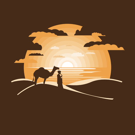 Bedouin in the dry desert under sun,Negative space.Flat design