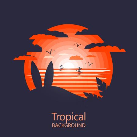 Hot tropical landscape icon.Surfboards near beach.Negative space Stock Illustratie