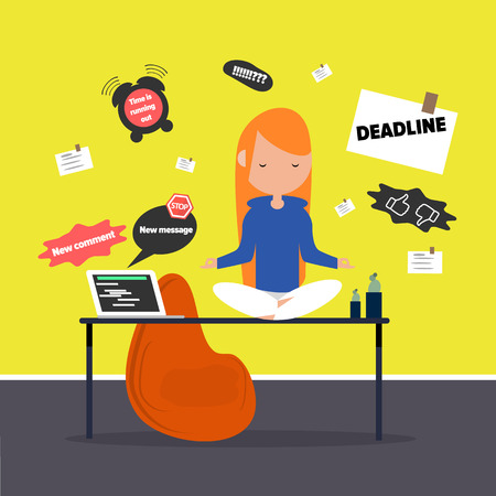 Meditation at the office. Calm character sitting in a lotus pose on a desk surrounded by the notifications. Flat cartoon design Illustration
