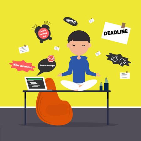 Meditazione in ufficio. Personaggio calmo seduto in una posa di loto su una scrivania circondato dalle notifiche. Design piatto cartone animato