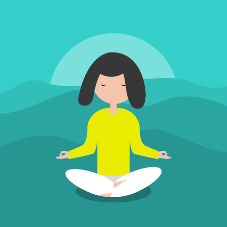 Meditación Personaje calmo sentado en una pose de loto. Diseño plano de dibujos animados Clip art.