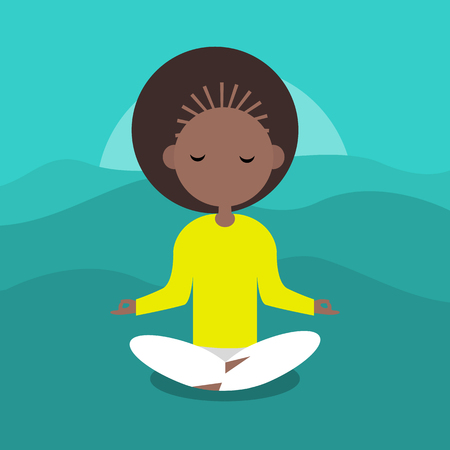 Meditation.Calm character sitting in a lotus pose. Flat cartoon design.Clip art. Vettoriali