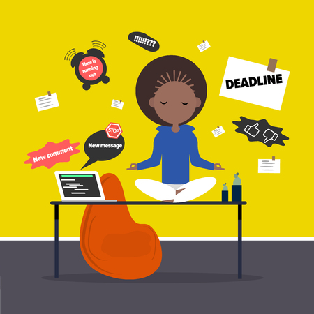 Meditation at the office. Calm character sitting in a lotus pose on a desk surrounded by the notifications. Flat cartoon design 일러스트