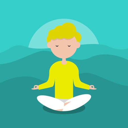 Meditation.Calm character sitting in a lotus pose. Flat cartoon design.Clip art. Vettoriali