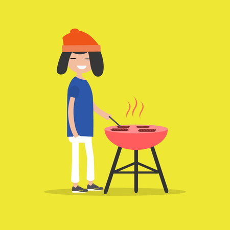Young character cooking BBQ sausages. Barbecue. Flat cartoon design.clip art