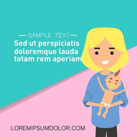 Young character parent holding a baby. Loving mom.Pastel backgrond with sample text.Flat cartoon design