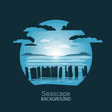 Seascape.Silhouette pier reste sur le coucher du soleil. Illustration de l'espace négatif. Vecteurs