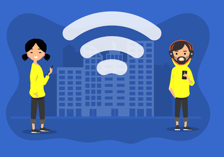 Young characters using wi-fi in the street.Wireless icon.Flat cartoon design