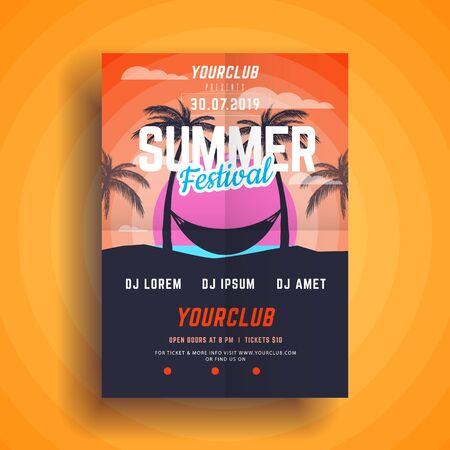 Summer party poster.Summer festival vertical flyer template Standard-Bild - 128319135
