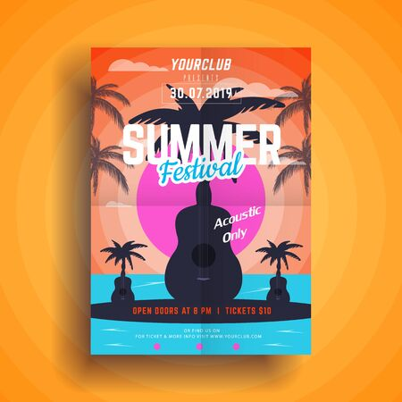Summer party poster.Summer festival vertical flyer template