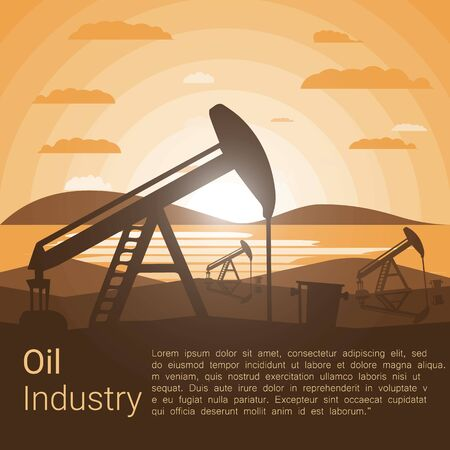 Oil Industry poster, Silhouette Pumpjack on a Background of Mountains at Sunset