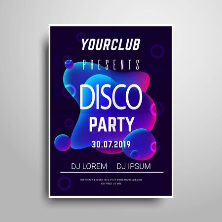 Party poster template.Night party vertical flyer sample Standard-Bild - 128798503