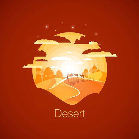 Sahara desert landscape.Walking camel caravan. Negative space illustration
