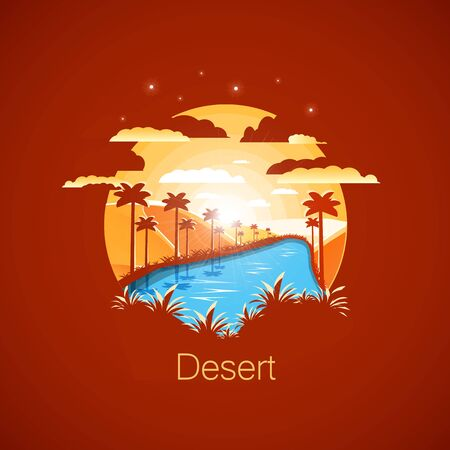 Oasis in the dry desert.Negative space illustration