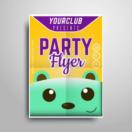 Party flyer.Vertical flyer template with character