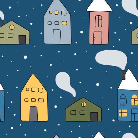 Christmas seamless vector pattern with houses and snowflakes. Seamless childish pattern for cards, wrapping papers, posters. Creative hand drawn pattern for winter holidays. Seamless texture for Christmas design Vector Illustratie