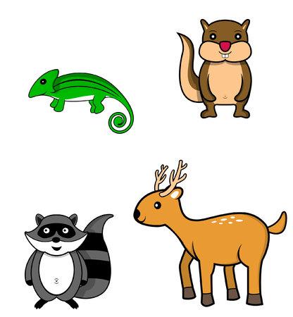 omnivore animal: forest animal.chameleon.chipmunk.raccoon.deer Illustration