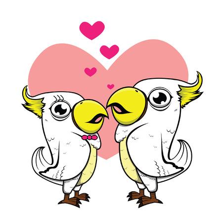 romantic: parrot romantic couple Illustration