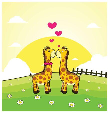 grass land: pareja rom�ntica jirafa con el fondo de la tierra hierba