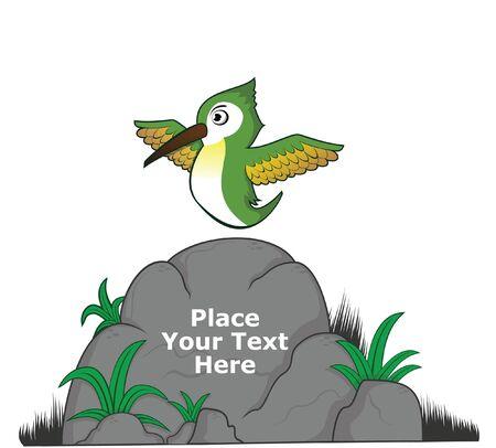 humming: humming bird on big rock for message