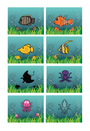 zoological: marine animal background set