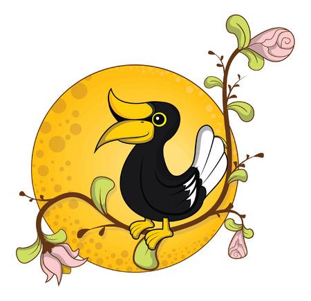 hornbill: hornbill flower background