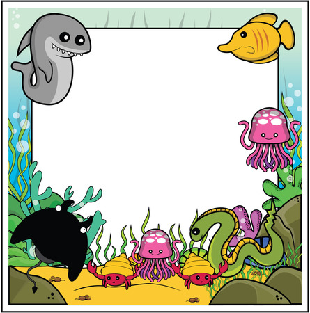 scrapbook background: shark, butterflyfish, jellyfish, electric eel, manta ray, sea snail frame with underwater