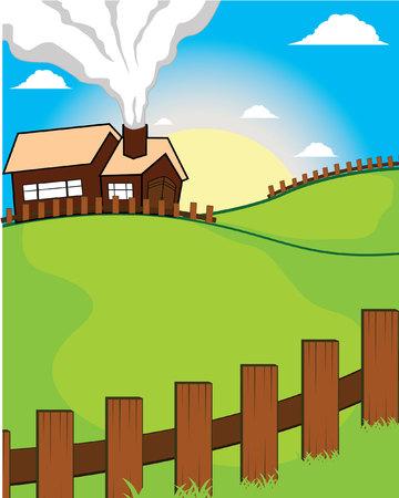 animal: landschap boerderij dier huis