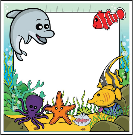 butterflyfish: dolphin,clownfish,octopus,butterflyfish,moorish idol,oyster,starfish frame with underwater