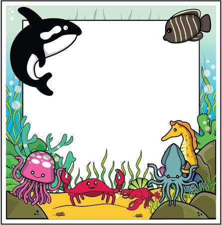 caballo de mar: ballena, peces ángel, caballo de mar, medusas, cangrejos, camarones, marco de calamar con bajo el agua