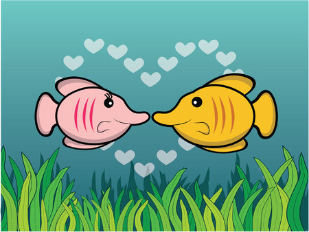butterfly fish: butterfly fish romantic couple with underwater scenery Illustration