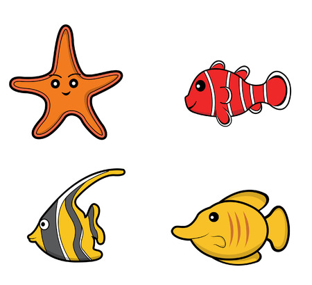shapes cartoon: underwater animal set starfish. clown fish. moorish idol .butterfly fish Illustration