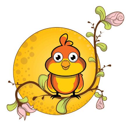 sparrow: sparrow flower background Illustration