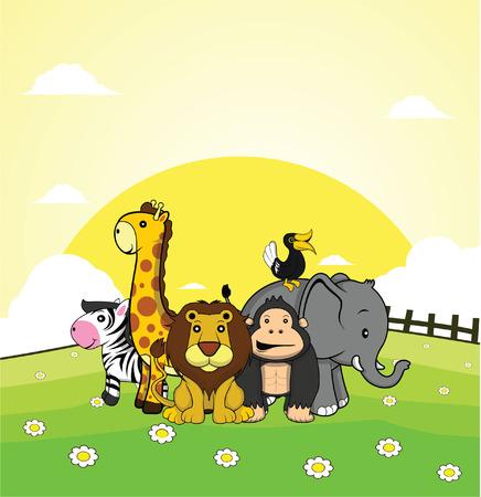 zèbre sauvage animal, girafe, lion, le gorille, elephan, facture de corne avec un fond d'herbe de la terre